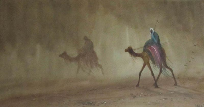 Riders in Desert Sandstorm, watercolour and gouache, signed Douglas Houzen Pinder (1886-1949). c1920.