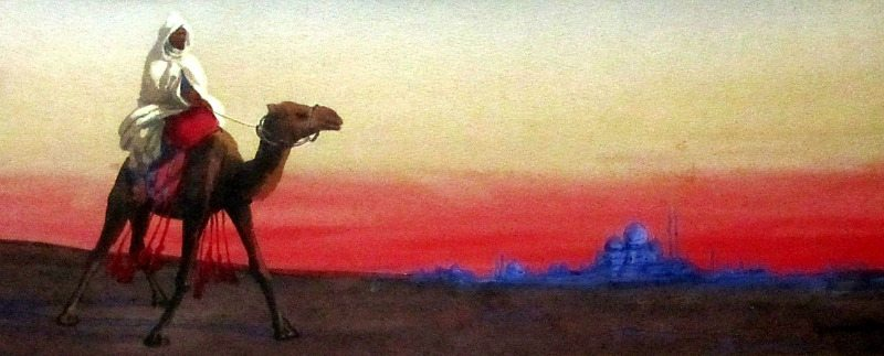Camel Rider at Dusk with Mosque beyond, watercolour and bodycolour, signed Giovanni Barbaro Italy 1898.