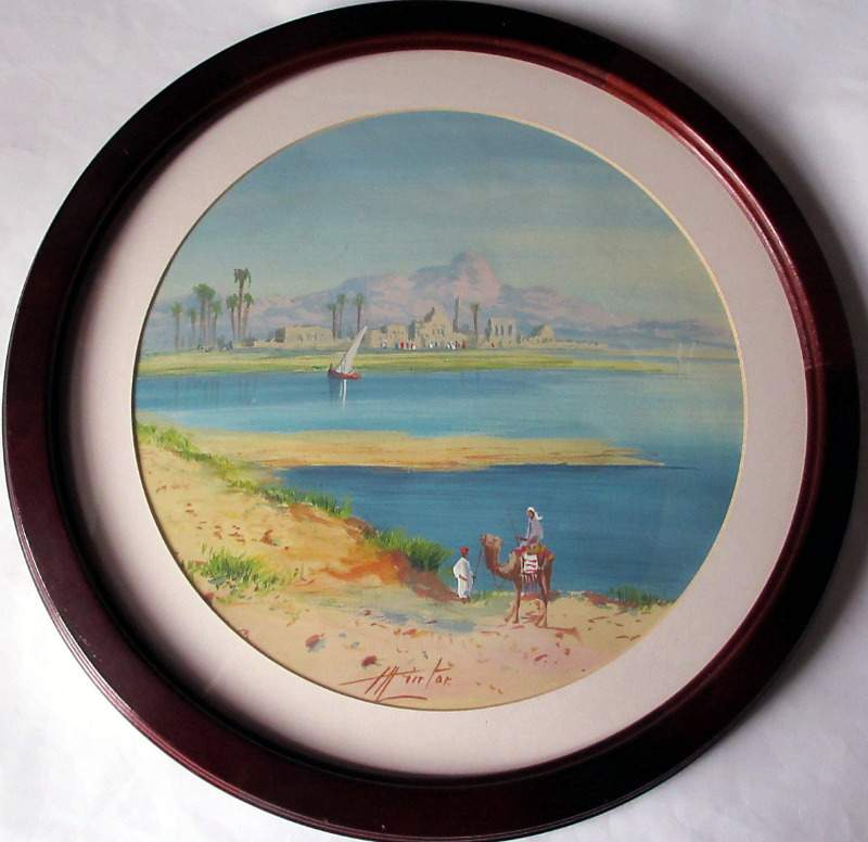 Nile Scene watercolour and gouache signed Henry (Harry) Stanton Lynton (fl.1886-1904). Porthole view. c1900.