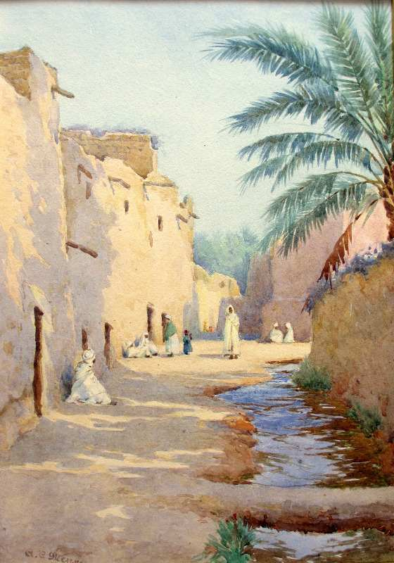 Orientalist Iraqi Street Scene, watercolour, signed A.C. Meyer, c1890.