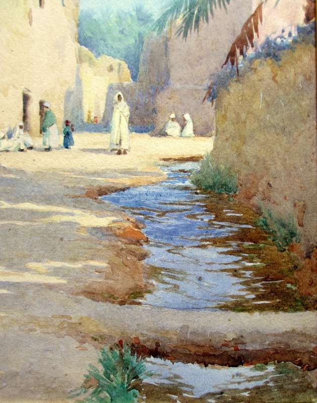Orientalist Iraqi Street Scene, watercolour, signed A.C. Meyer, c1890. Detail.