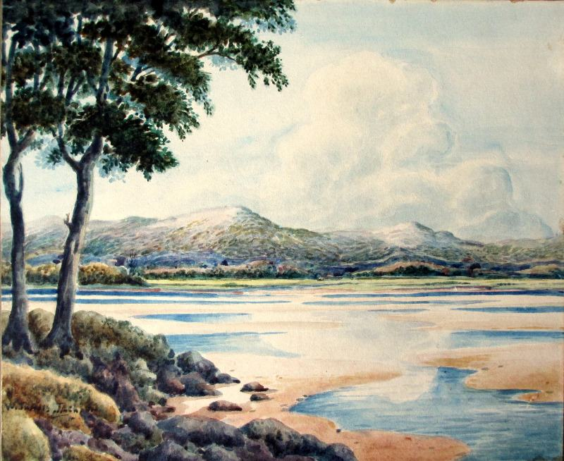 Over the Estuary, watercolour, signed W. Travis Jackson, c1900.