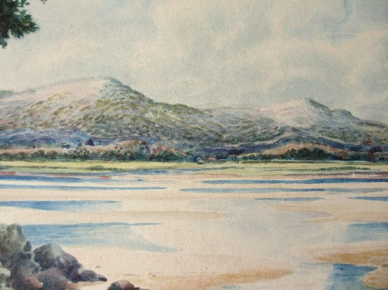 Over the Estuary, watercolour, signed W. Travis Jackson, c1900. Detail.