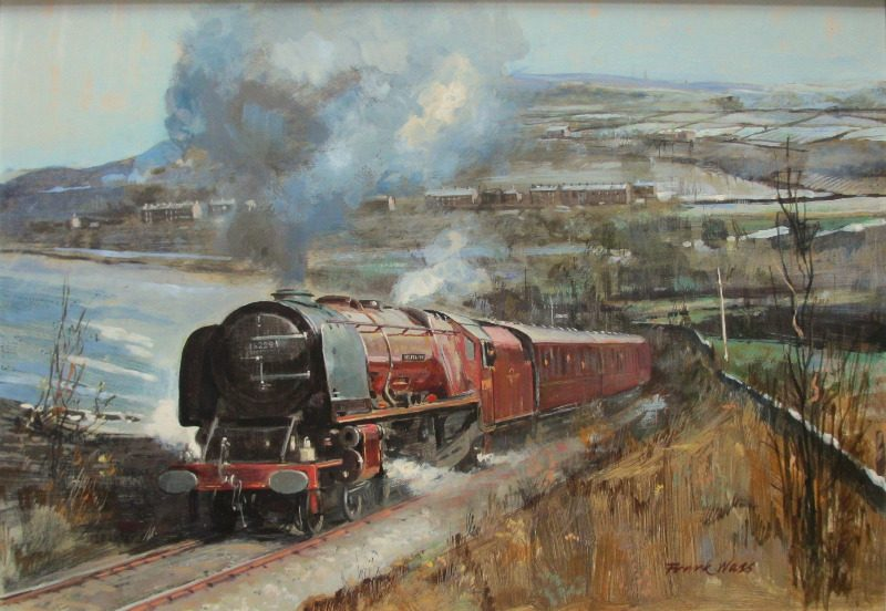 Stanier 8P 4-6-2 Duchess of Hamilton, oil on board, signed Frank Wass 1984.