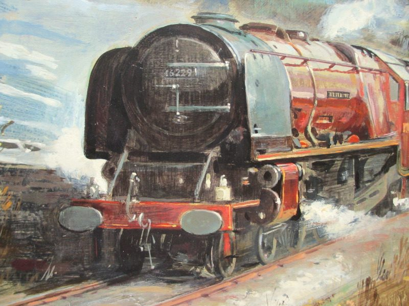 Stanier 8P 4-6-2 Duchess of Hamilton, oil on board, signed Frank Wass 1984. Detail.