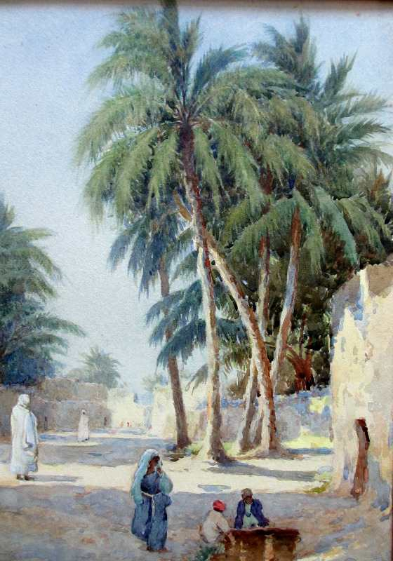 Orientalist Iraqi Street Scene with Figures and Children, watercolour, signed A.C. Meyer. c1890. Detail.