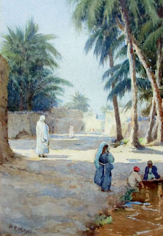 Orientalist Iraqi Street Scene with Figures and Children, watercolour, signed A.C. Meyer. c1890.