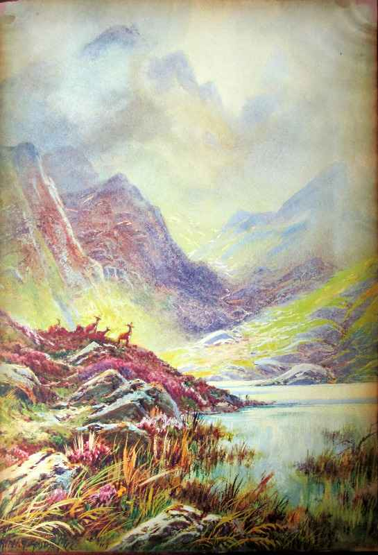 Highland Landscape signed Rubens Southey, lithograph on paper, glazed to board 1.