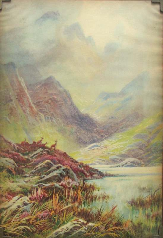 Highland Landscape signed Rubens Southey, lithograph on paper, glazed to board 1. Detail.