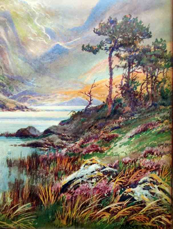 Highland Landscape signed Rubens Southey, lithograph on paper, glazed to board 2. Detail.