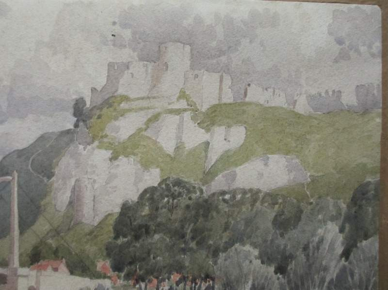 Chateau Gaillard, Upper Normandy, France, signed Paul Smyth, c1929. Detail.