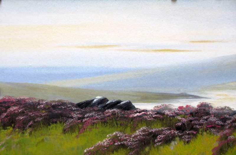 Moorland Landscape, gouache on board, signed T. Newton. c1980.