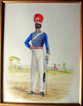 Infantryman, 32nd Regiment Madras, c1885, watercolour and gouache, R.D. Moore. c1925.  SOLD  17.04.2017