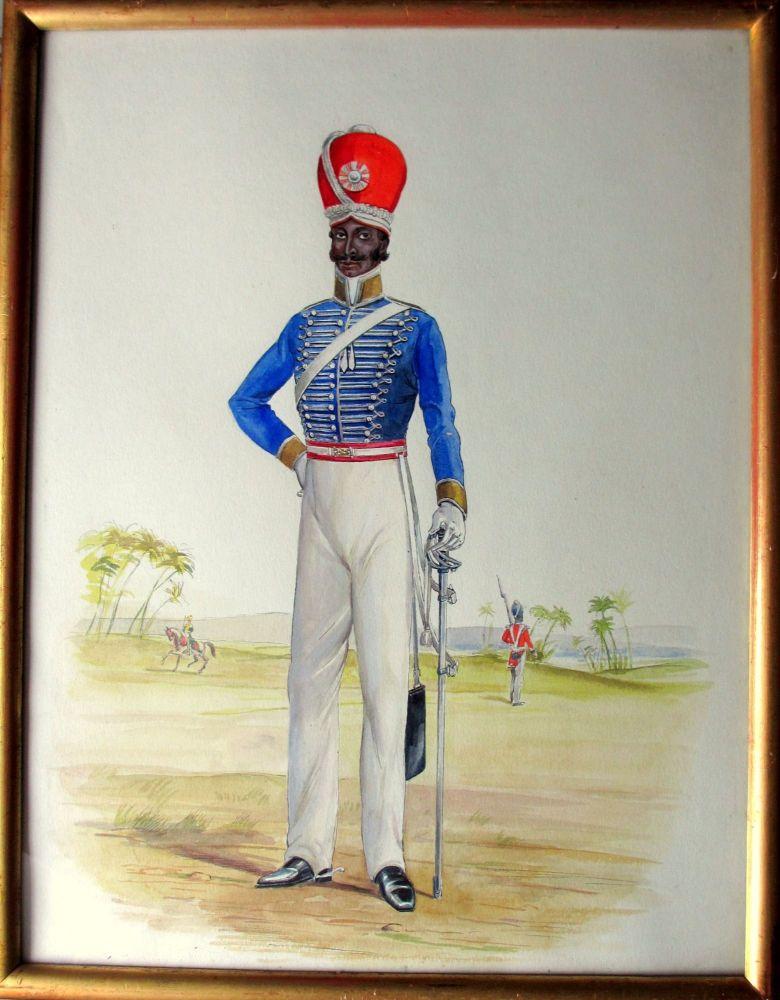 Infantryman, 32nd Regiment Madras, c1885, watercolour and gouache, R.D. Moo