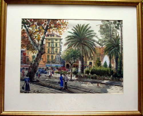 Busy Continental town square, signed G. Molina.