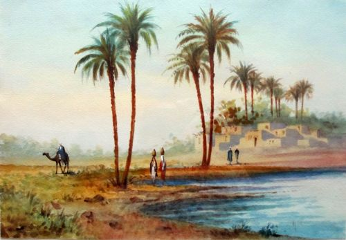 Orientalist Figures by the Water, Egypt, watercolour, signed A. Marchettini