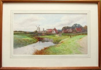 River Landscape with Windmill and Village, watercolour, signed George Oyston. c1920.