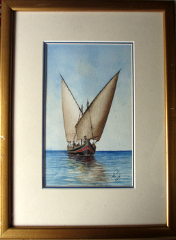 The Maltese Boat, watercolour, signed monogram RP 1927 Malta. Framed.  SOLD  23.06.2014.
