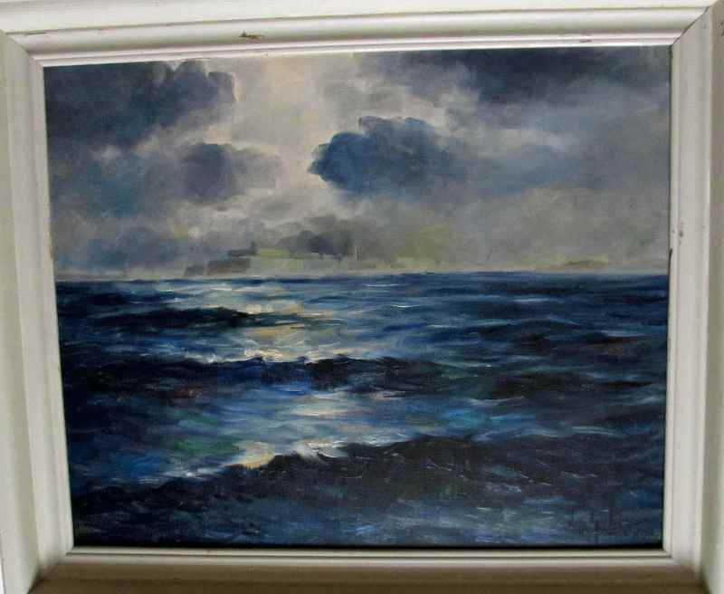 Moonlit Ocean Valletta, oil on board, signed Joseph Galea 1966.