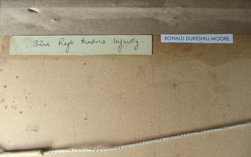 32nd Regiment Madras Infantryman, watercolour, Ronald Dukesill Moore, c1920. Frame, verso.