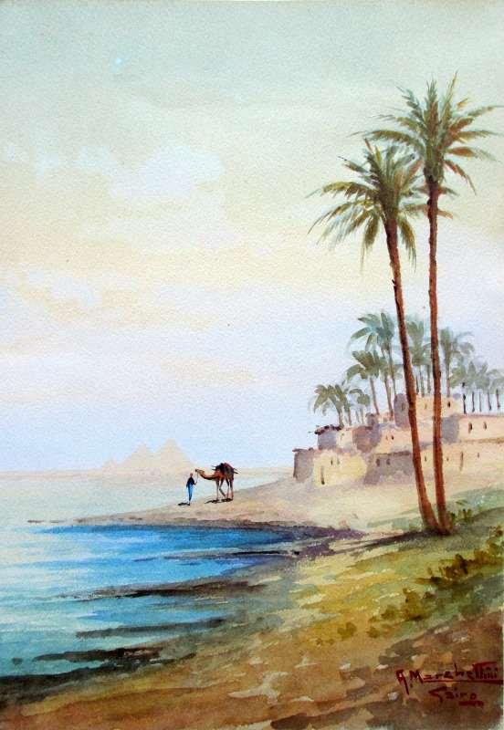 Camel and Figure Near Pyramids, watercolour, signed A. Marchettini. c1890.