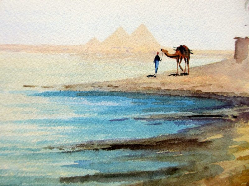 Camel and Figure Near Pyramids, watercolour, signed A. Marchettini. c1890. Detail.