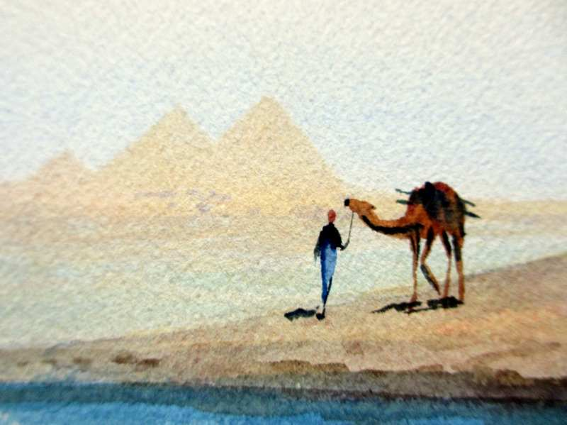 Camel and Figure Near Pyramids, watercolour, signed A. Marchettini. c1890. Detail, signature.