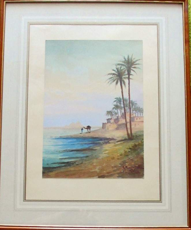 Camel and Figure Near Pyramids, watercolour, signed A. Marchettini. c1890. Framed.