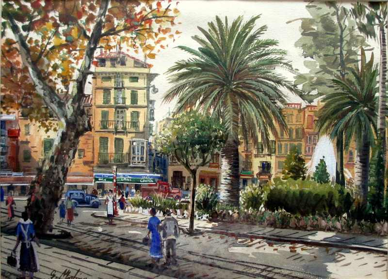 Continental Square, watercolour, signed G. Molina, c1960.