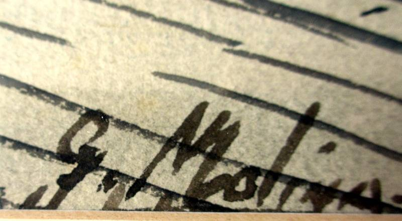 Continental Square, watercolour, signed G. Molina, c1960. Signature.