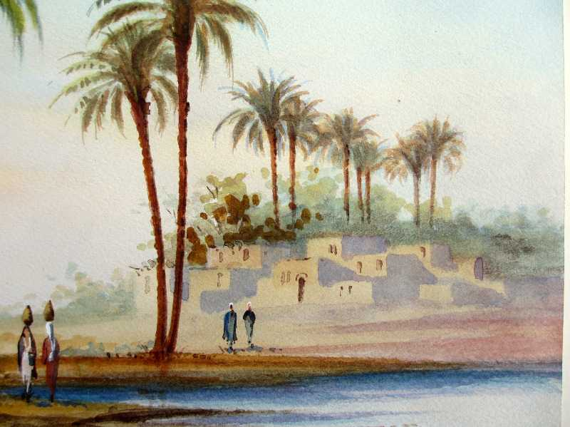 Orientalist study, Figures by the Water, watercolour, signed A. Marchettini. c1890. Detail.