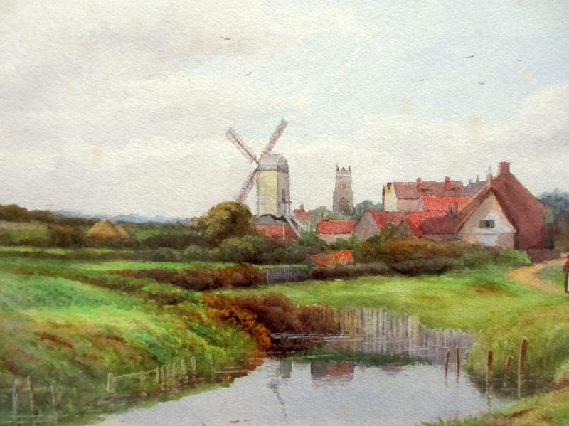 River Landscape with Windmill, watercolour, signed George Oyston, c1920. Detail.