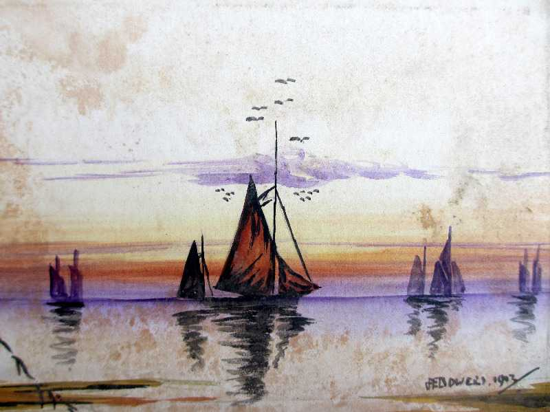 Estuary Scene at Sunset with Sailing Boats, watercolours on paper, signed JE Bowers, 1923. Opened.
