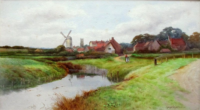 River Landscape with Windmill, watercolour, signed George Oyston, c1920.