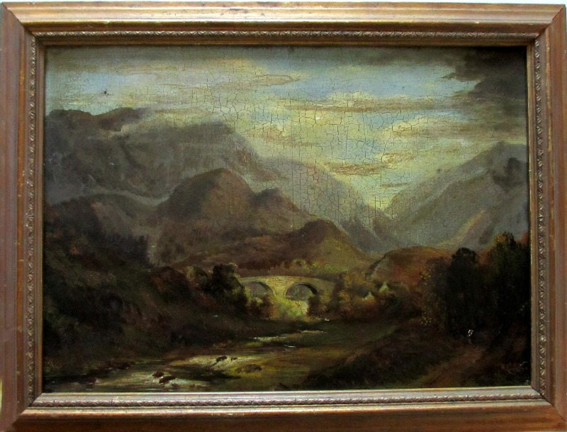 Welsh Landscape with Bridge, oil on board, signed (verso) A. Edwards, 1843.
