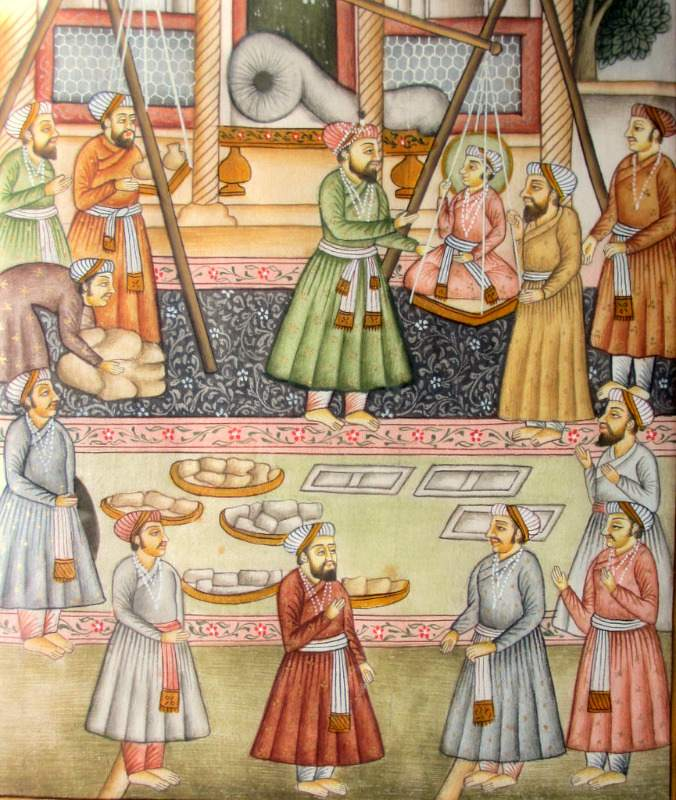 Traditional Indian Maharaja Scene, gouache, c1900. Detail.