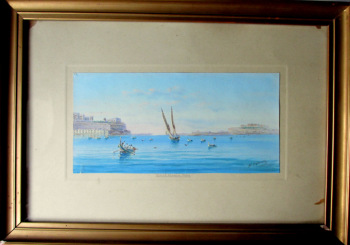 Grand Harbour Malta, gouache on paper, signed D'Esposito, c1900. Framed and glazed. SOLD  18.04.2017.