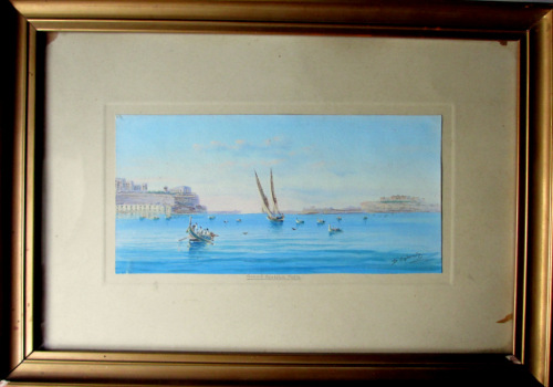 Grand Harbour Malta, gouache on paper, signed D'Esposito, c1900. Framed and