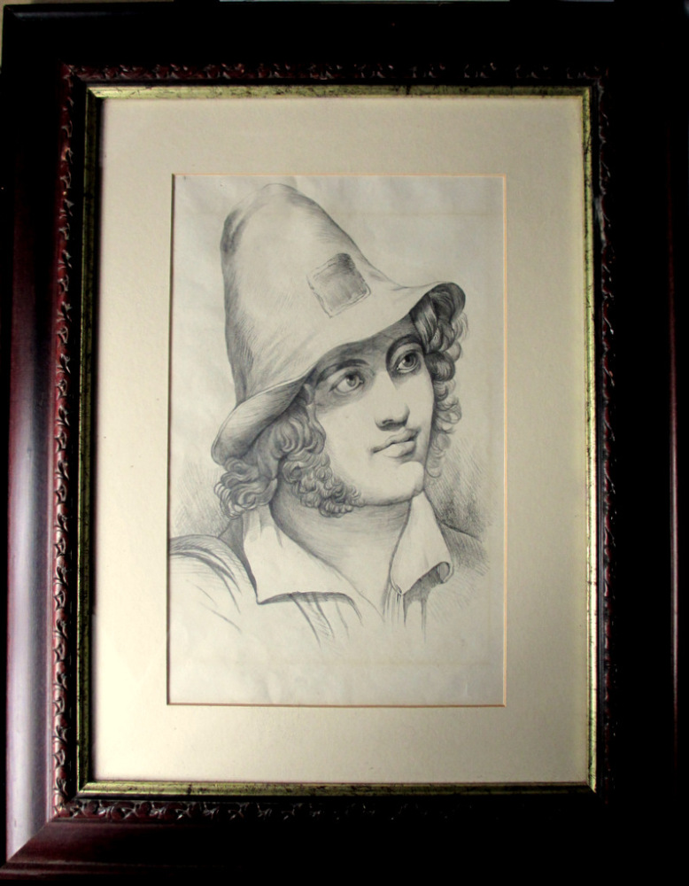 Portrait Study of an Italian Peasant Boy, pencil on paper, unsigned. c1900.