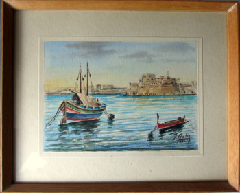 Carmelo Galea, A Set of Four Views of Malta, watercolours, signed C. Galea Malta. c1950.
