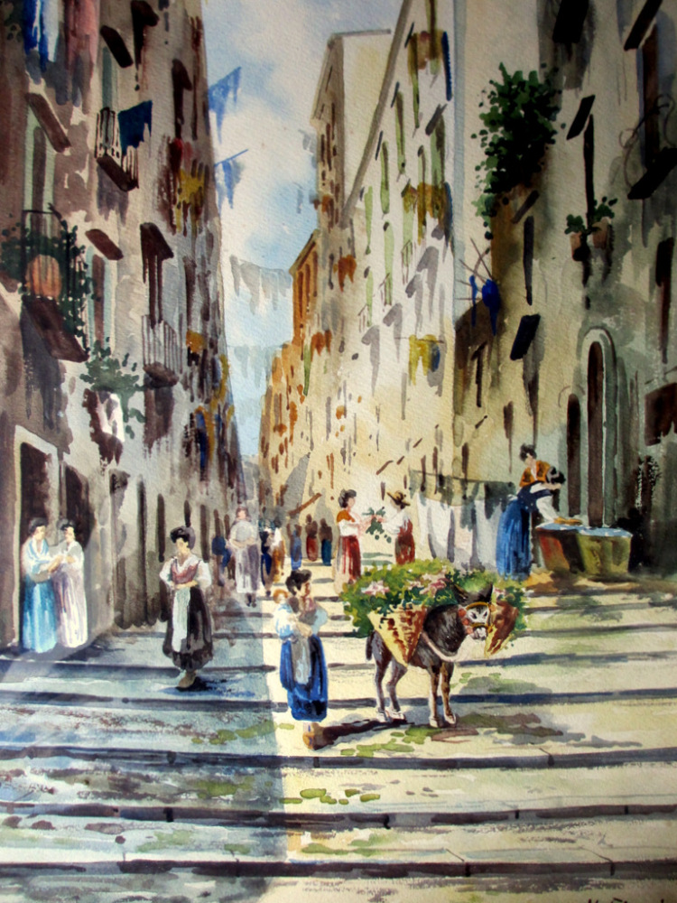 Neapolitan Street Scene with Donkey and Figures, watercolour, signed U. Gia