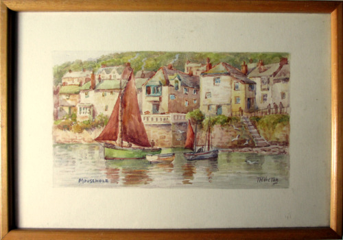 Mousehole, Cornwall, watercolour, signed T.H. Victor. c1960. Framed.