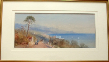 Amalfi Coastal View, watercolour and gouache, faintly signed H. Fusci. c 1900.  SOLD 05.07.2014.