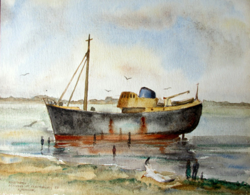 Grimsby Trawler Ross Hawk GY657 aground at Cleethorpes 1968, watercolour, s