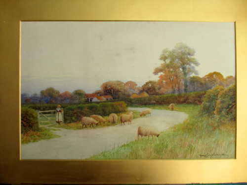 Near Sudbury Suffolk, watercolour, signed George Oyston 1906. Unframed.