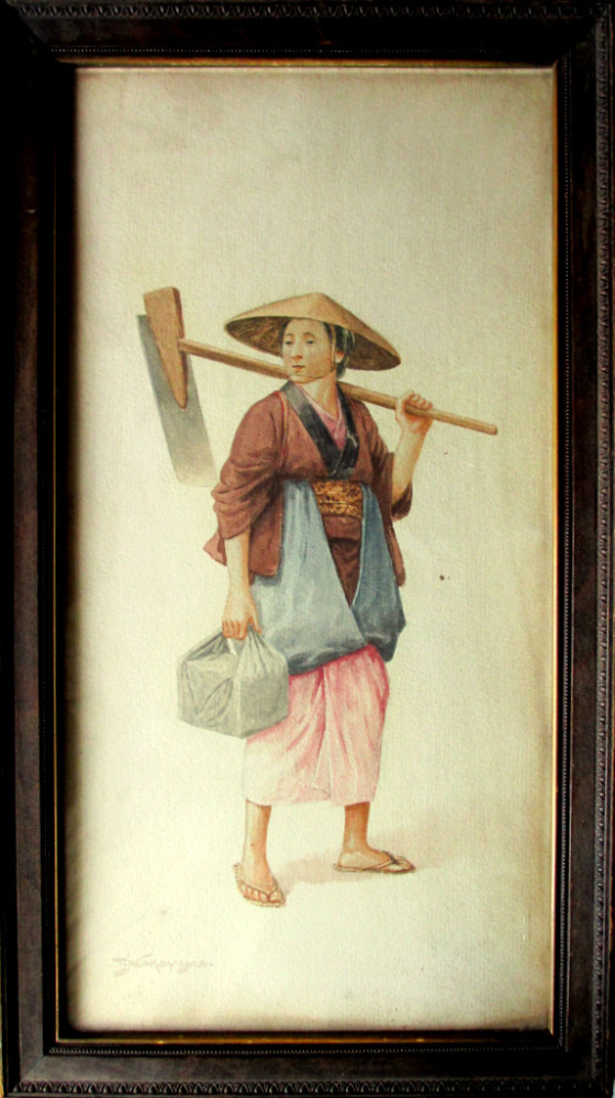 Female Farm Labourer, watercolour, signed T. Nakayama. c1930.