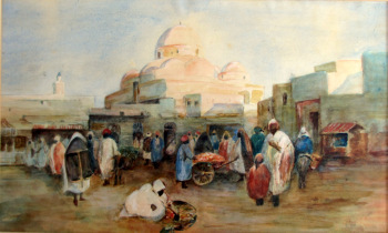 Tunis, Souk Scene, watercolour and gouache, titled Tunis, R.G. Talbot Kelly. c1900.  SOLD  19.09.2014.