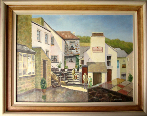 The Three Pilchards Public House and Smugglers Cottage, Polperro, oil on bo