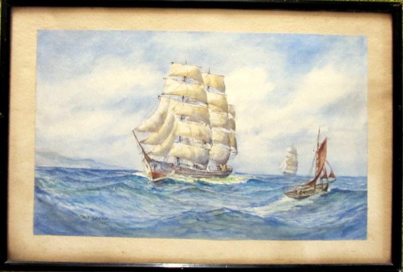 Sailing Ships passing a fishing boat, watercolour, signed E.E.J. Dean 1942.