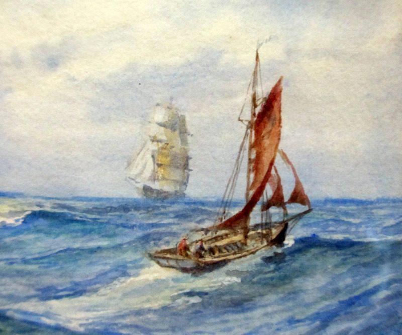 Sailing Ships passing a fishing boat, watercolour, signed E.E.J. Dean 1942. Detail.